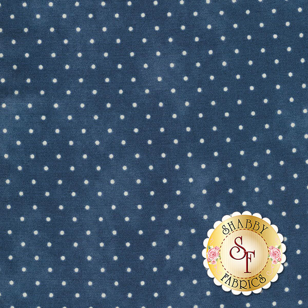 Dark blue mottled fabric with small white polka dots