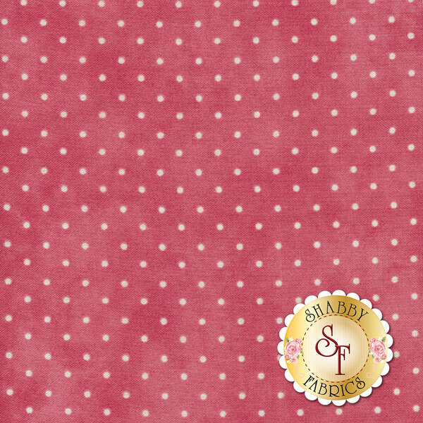 Bright pink mottled fabric with small white polka dots