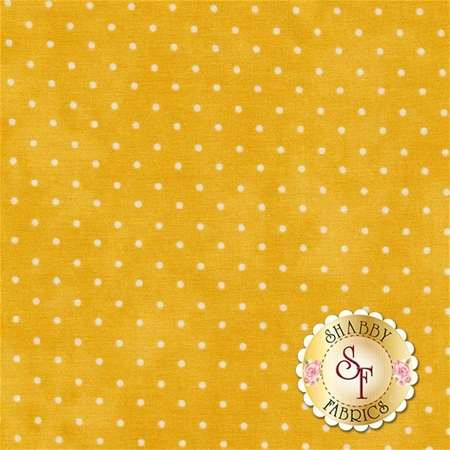 Dark yellow mottled print with small white polka dots