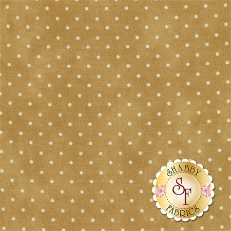 Tan mottled print with small white polka dots