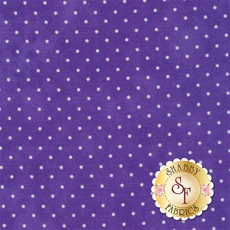Small white polka dots on a dark purple mottled print