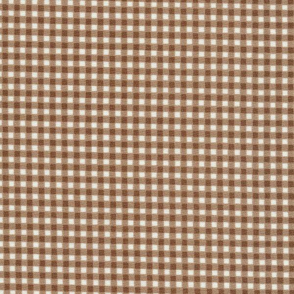 Brown gingham print   Shabby Fabrics