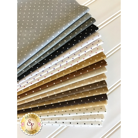 Beautiful Basics  18 Fat Eighth Set - Neutral Classic Dot Set by Maywood Studio Fabrics