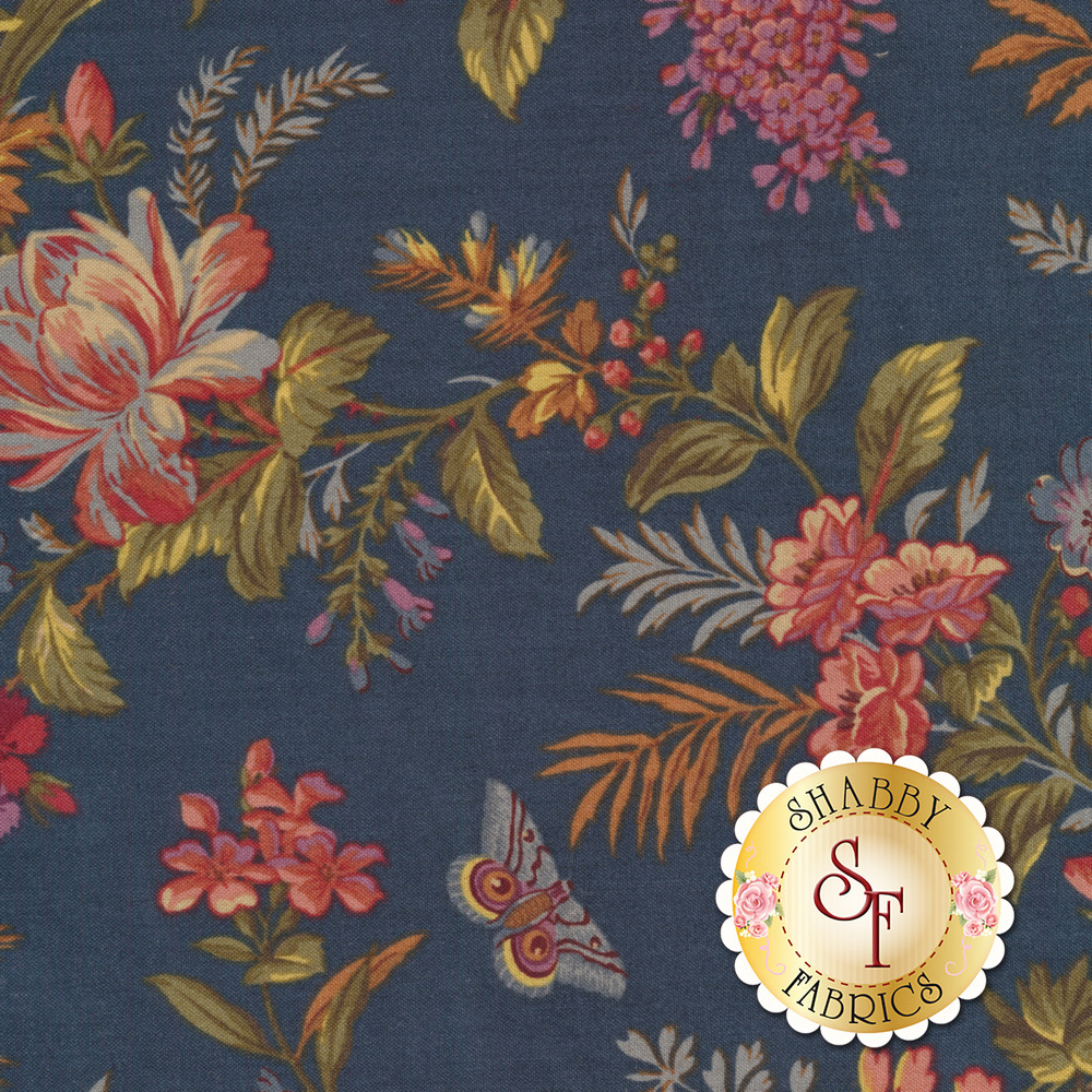 Multi colored flower bunches on a blue background