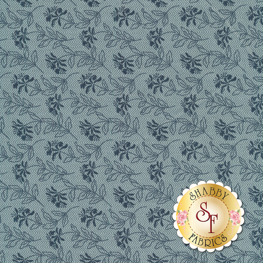 Tonal dark blue flowers on a light blue zig zagged background