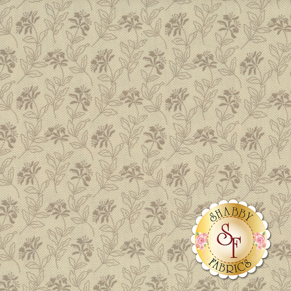 Tonal tan flowers on a light tan zig zagged background