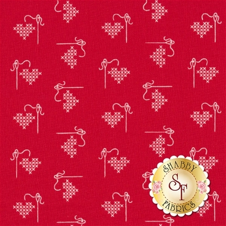 Bee Basics C6401-RED Heart Red by Lori Holt from Riley Blake Designs