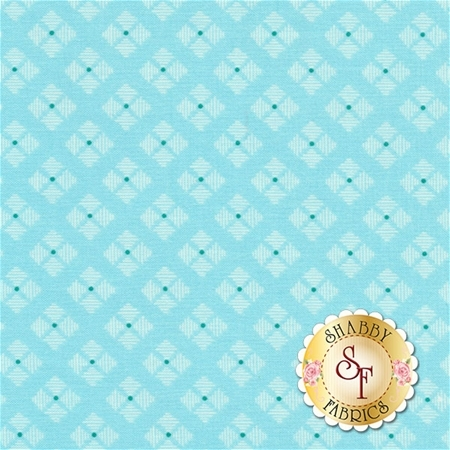 Bee Basics C6409-AQUA Stitched Flower Aqua by Lori Holt from Riley Blake Designs