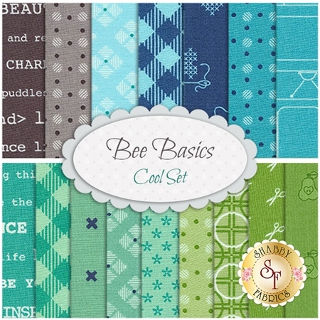 Bee Basics  16 FQ Set - Cool Set by Lori Holt from Riley Blake Designs