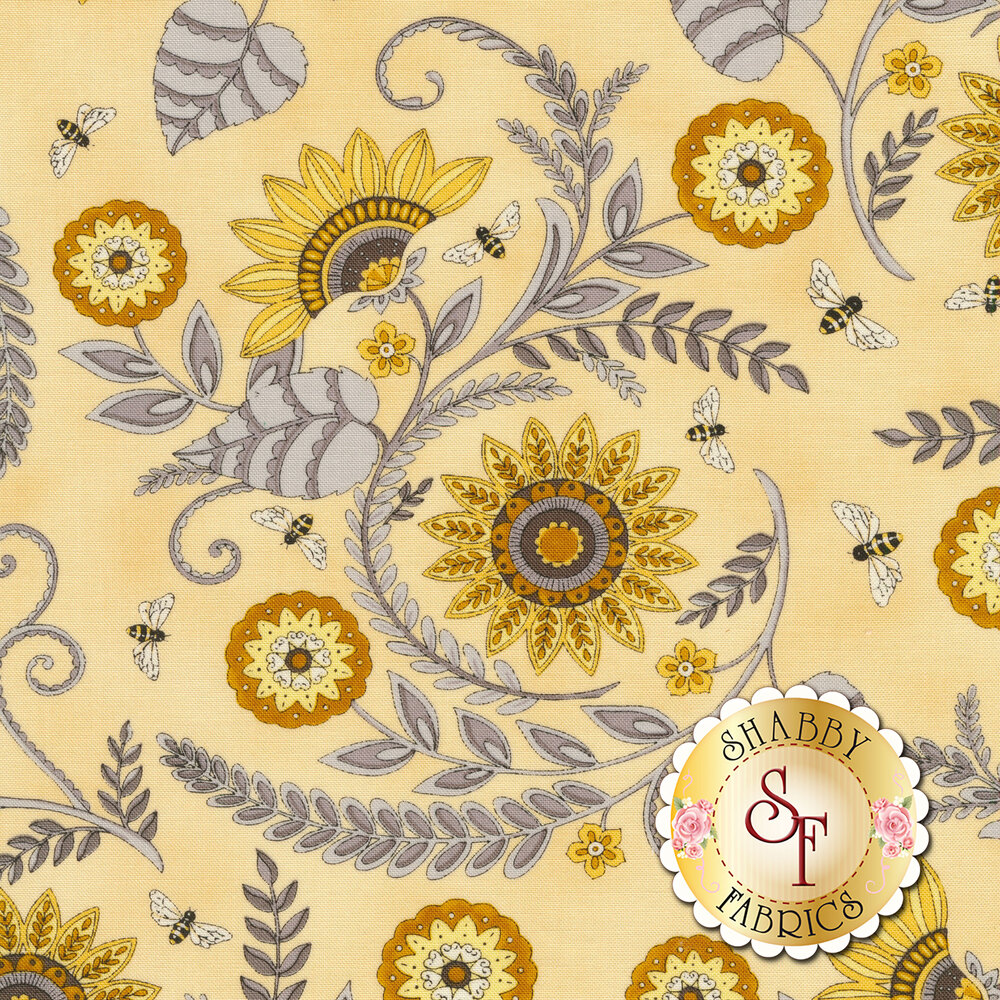 Yellow sunflowers with gray leaves on yellow | Shabby Fabrics
