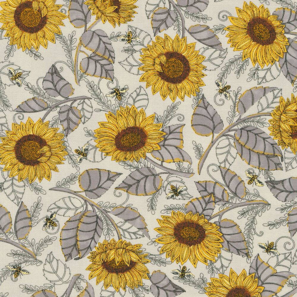 Yellow sunflowers and bees on grey | Shabby Fabrics