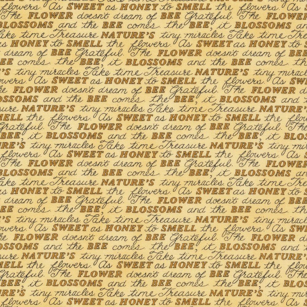 Tonal yellow word script | Shabby Fabrics
