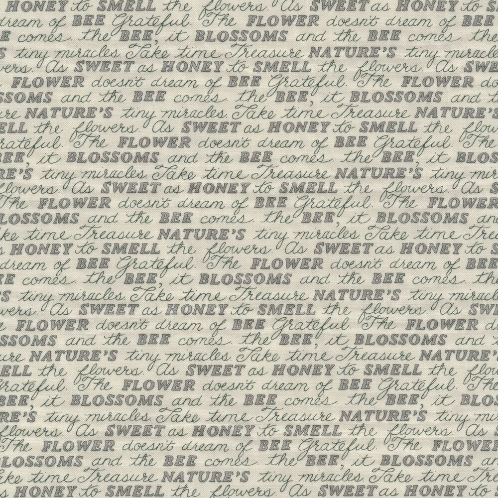 Tonal grey word script | Shabby Fabrics