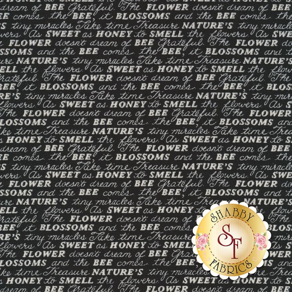 Tonal black word script | Shabby Fabrics