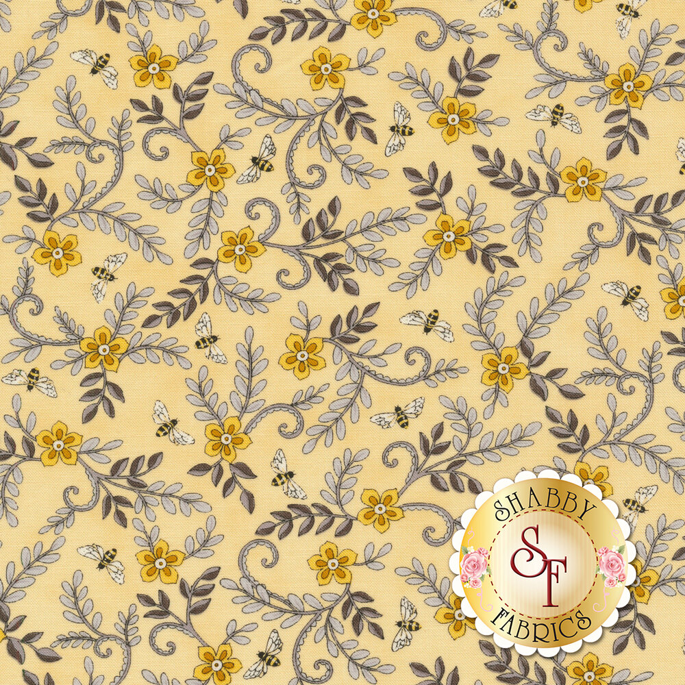 Yellow flowers with gray leaves and bees all over yellow | Shabby Fabrics