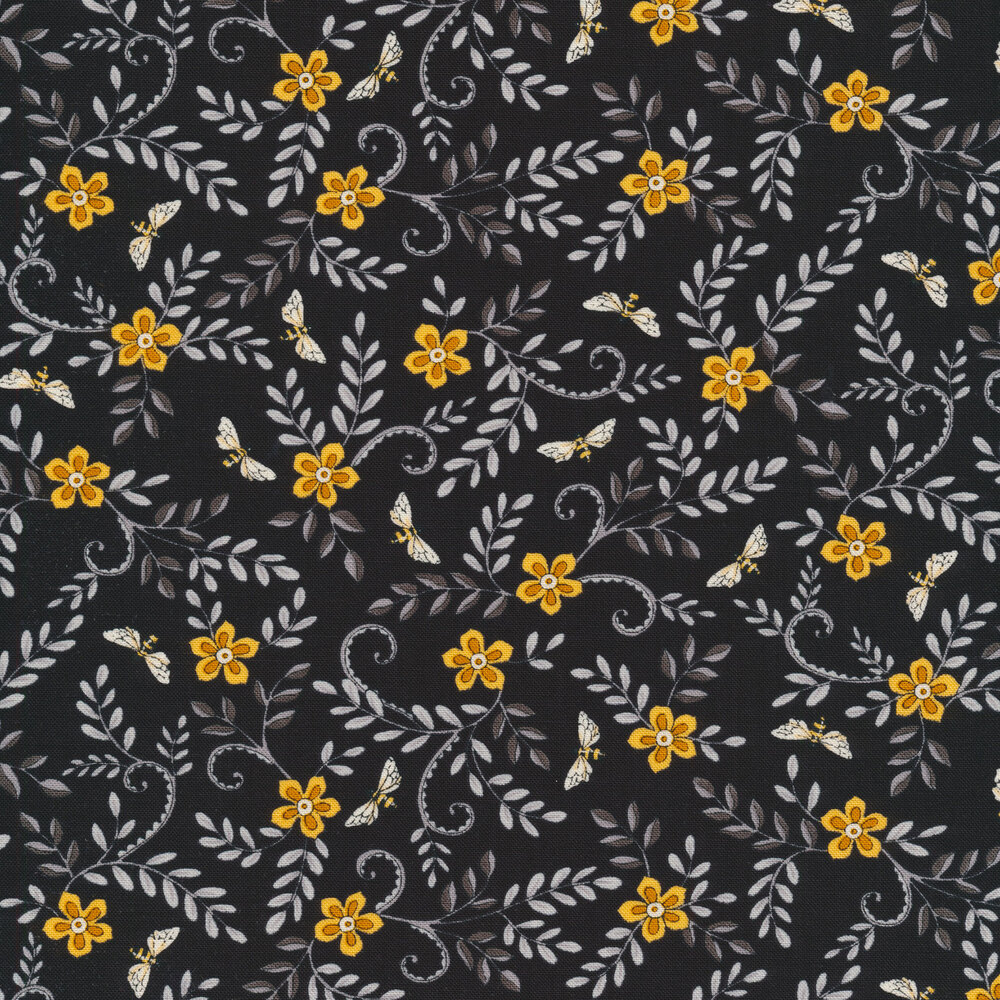 Yellow flowers with gray leaves and bees all over black | Shabby Fabrics