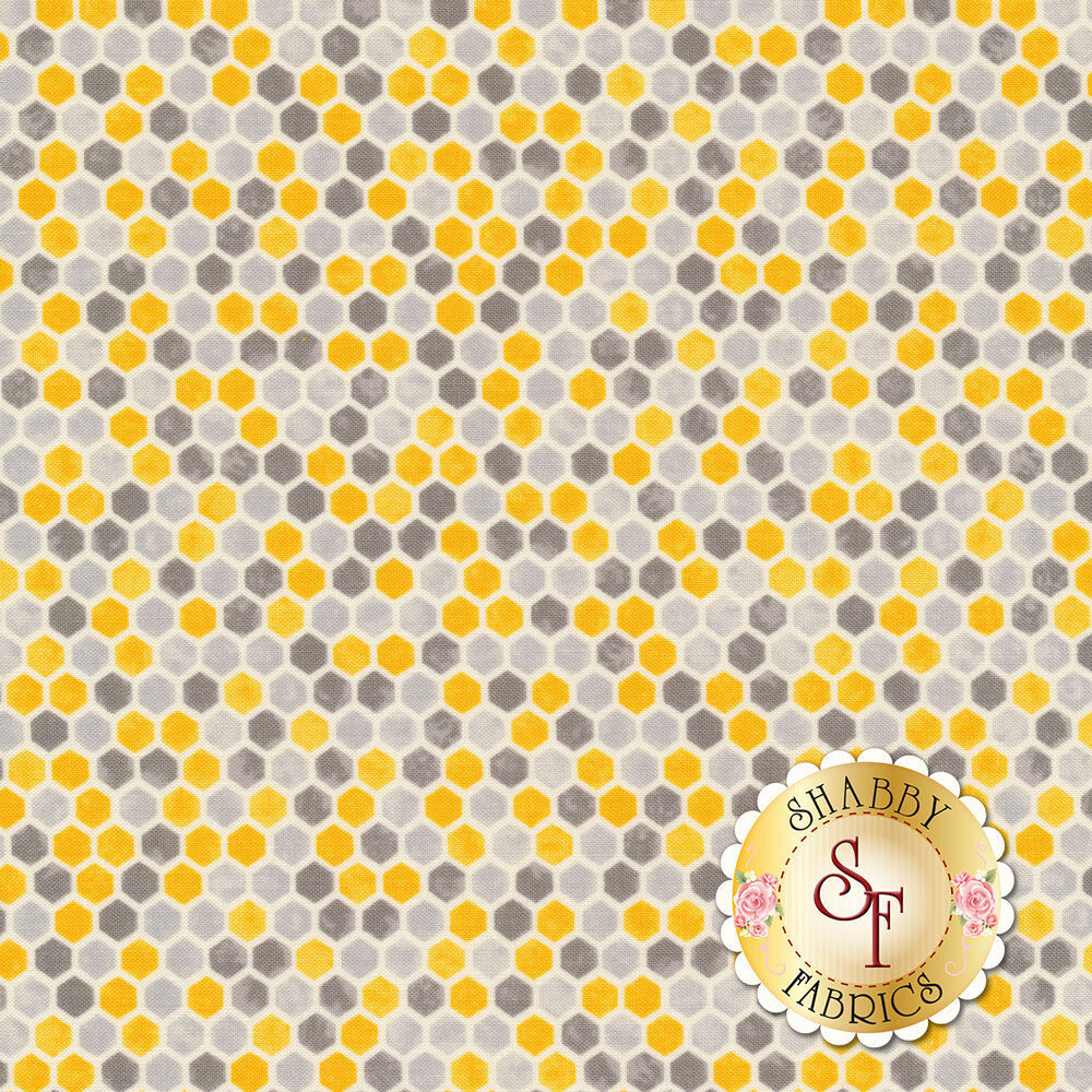 Grey and yellow honeycomb   Shabby Fabrics