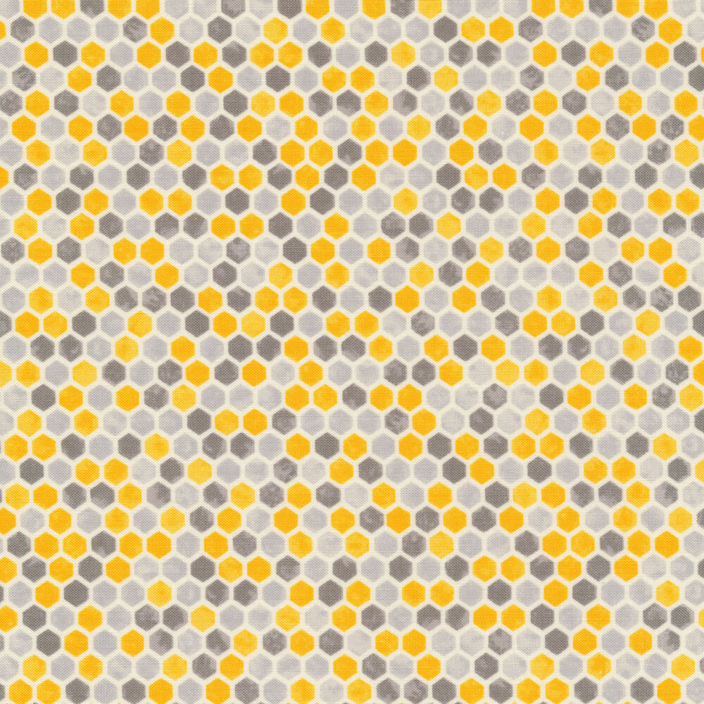 Grey and yellow honeycomb | Shabby Fabrics