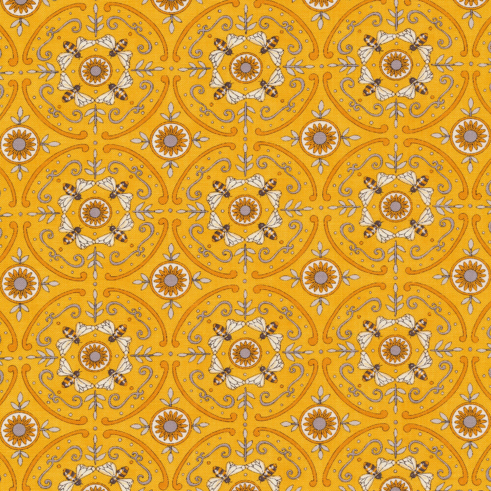 Yellow geometric bee pattern with grey accents | Shabby Fabrics