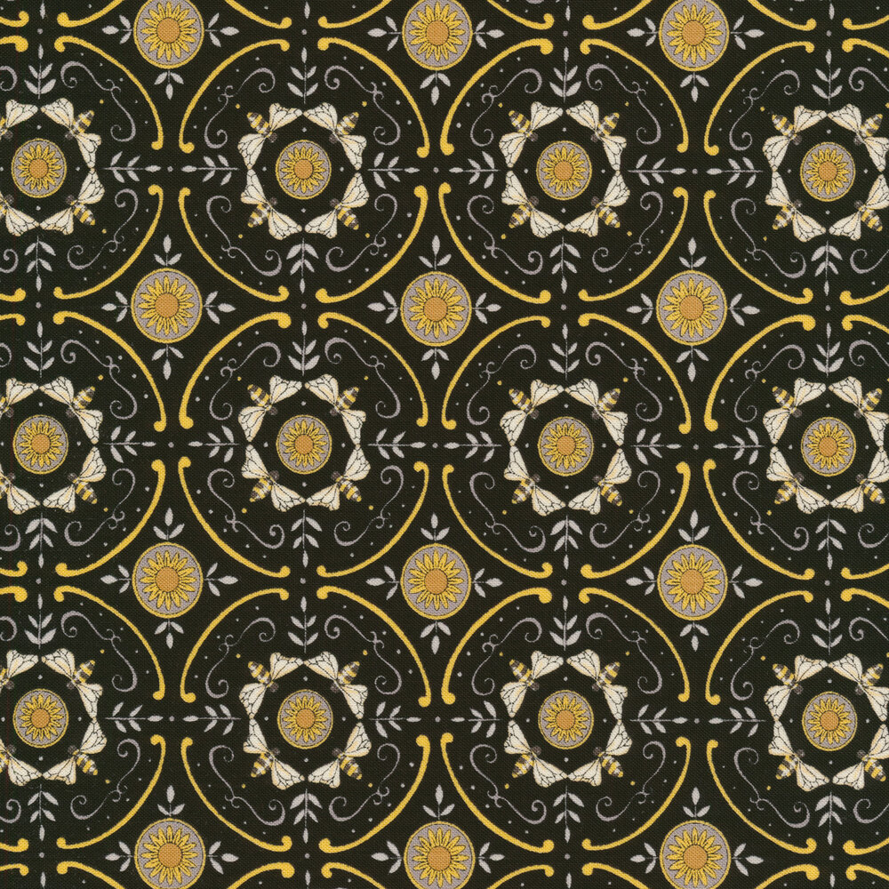 Black geometric bee pattern with yellow accents | Shabby Fabrics