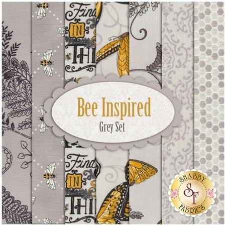 Bee Inspired  7 FQ Set - Grey Set by Deb Strain for Moda Fabrics