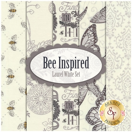 Bee Inspired  5 FQ Set - Laurel White Set by Deb Strain for Moda Fabrics