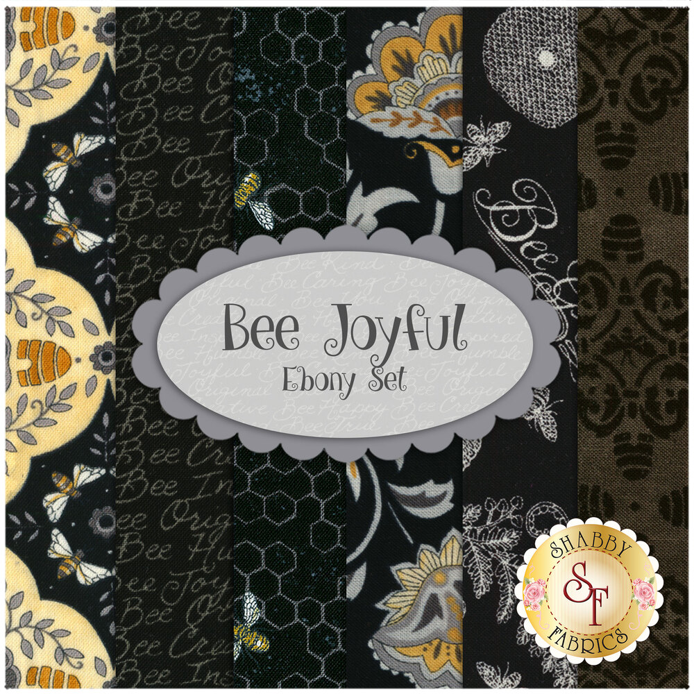 Bee Joyful Fat Quarter Set Ebony by Moda Fabrics available at Shabby Fabrics