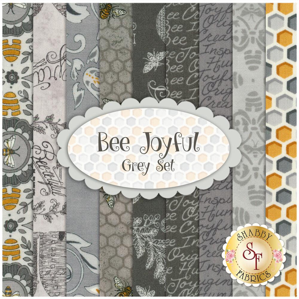 Bee Joyful Fat Quarter Set Grey by Moda Fabrics available at Shabby Fabrics
