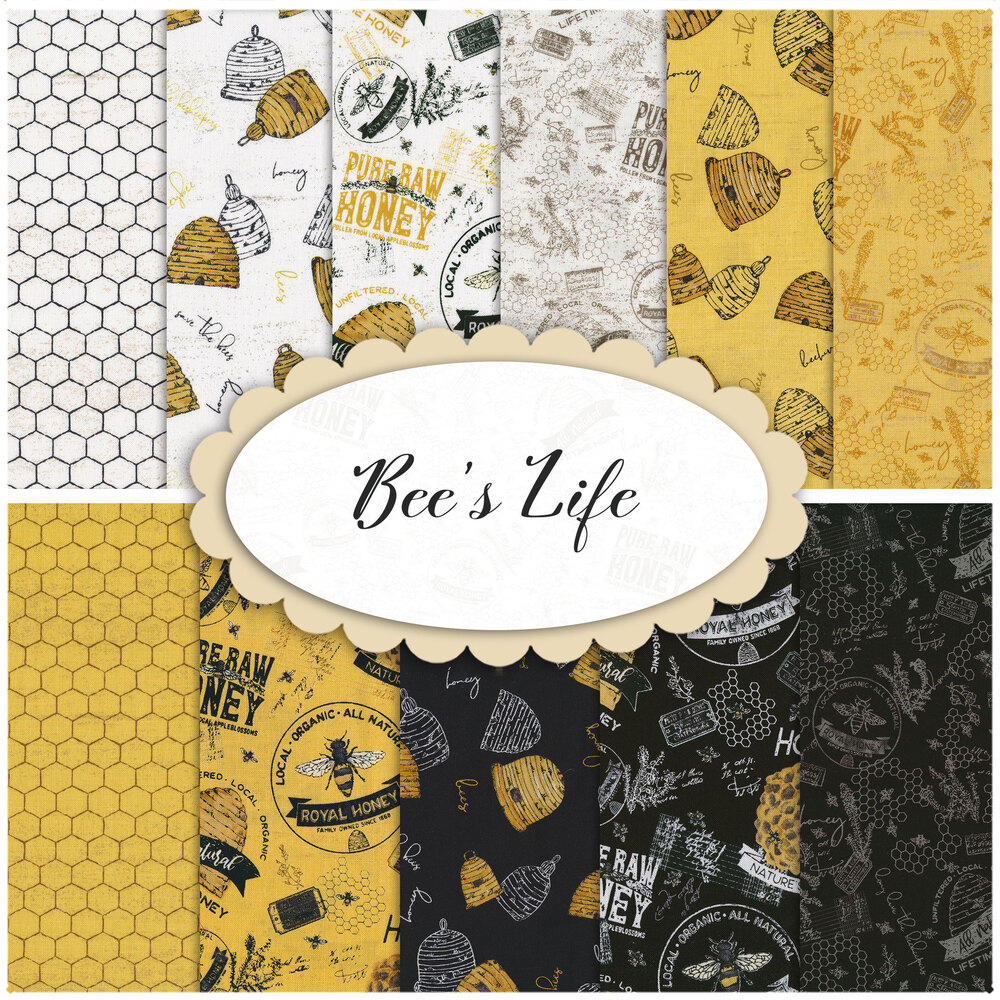 Collage of fabrics in the Bee's Life collection | Shabby Fabrics