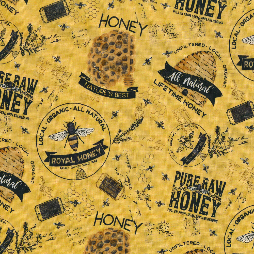 Tossed bees, honeycombs, and words on yellow | Shabby Fabrics