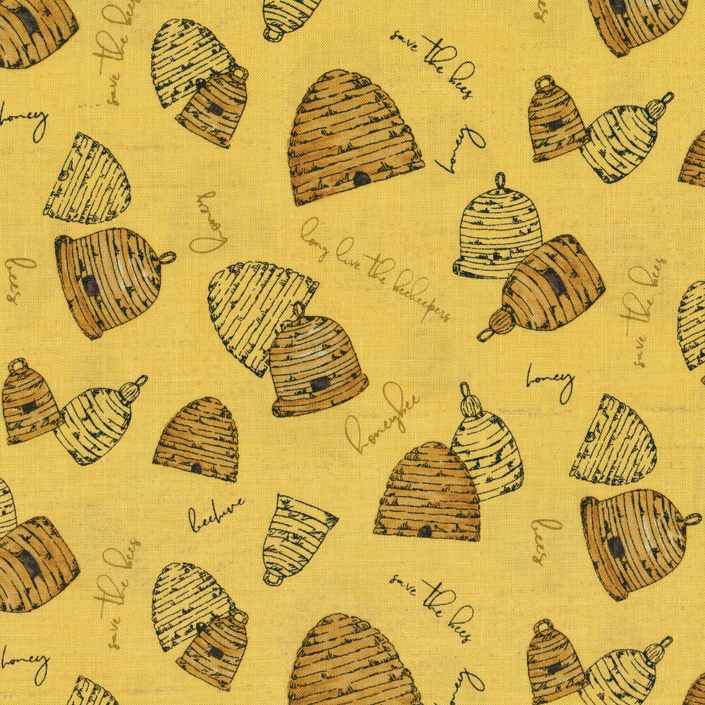 Tossed beehives and words on yellow | Shabby Fabrics