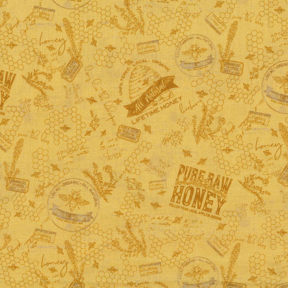 Tonal yellow words, bees, and honeycombs | Shabby Fabrics
