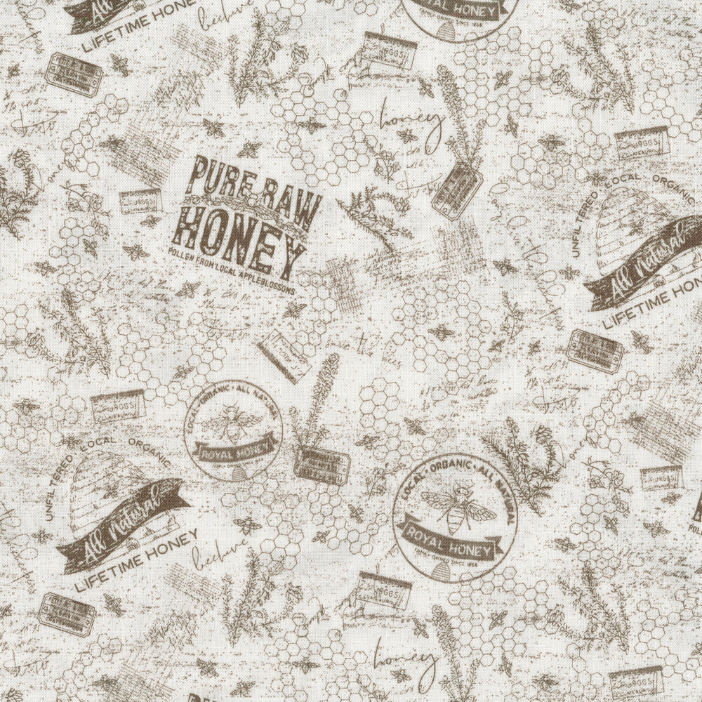 Brown words, bees, and honeycombs on white   Shabby Fabrics