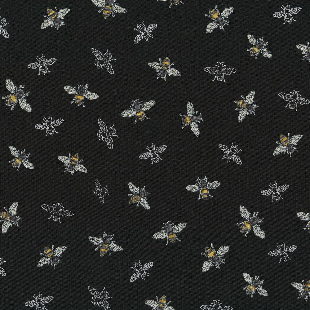 Tossed bees on black   Shabby Fabrics