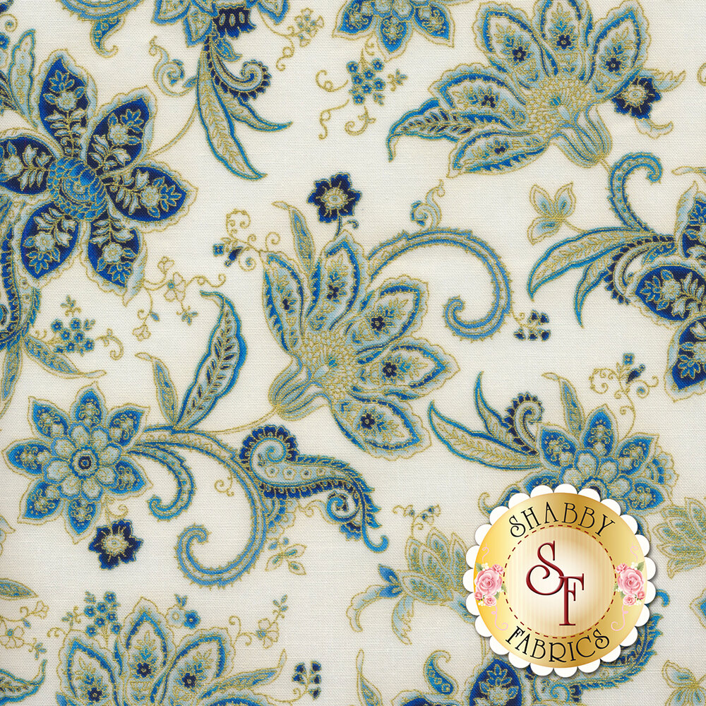 Elegant flowers with gold metallic accents on a cream background | Shabby Fabrics