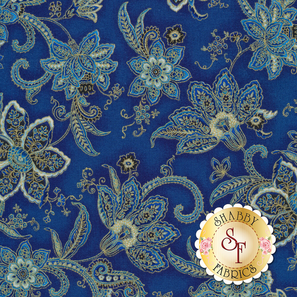 Elegant flowers with gold metallic accents on a blue mottled background | Shabby Fabrics