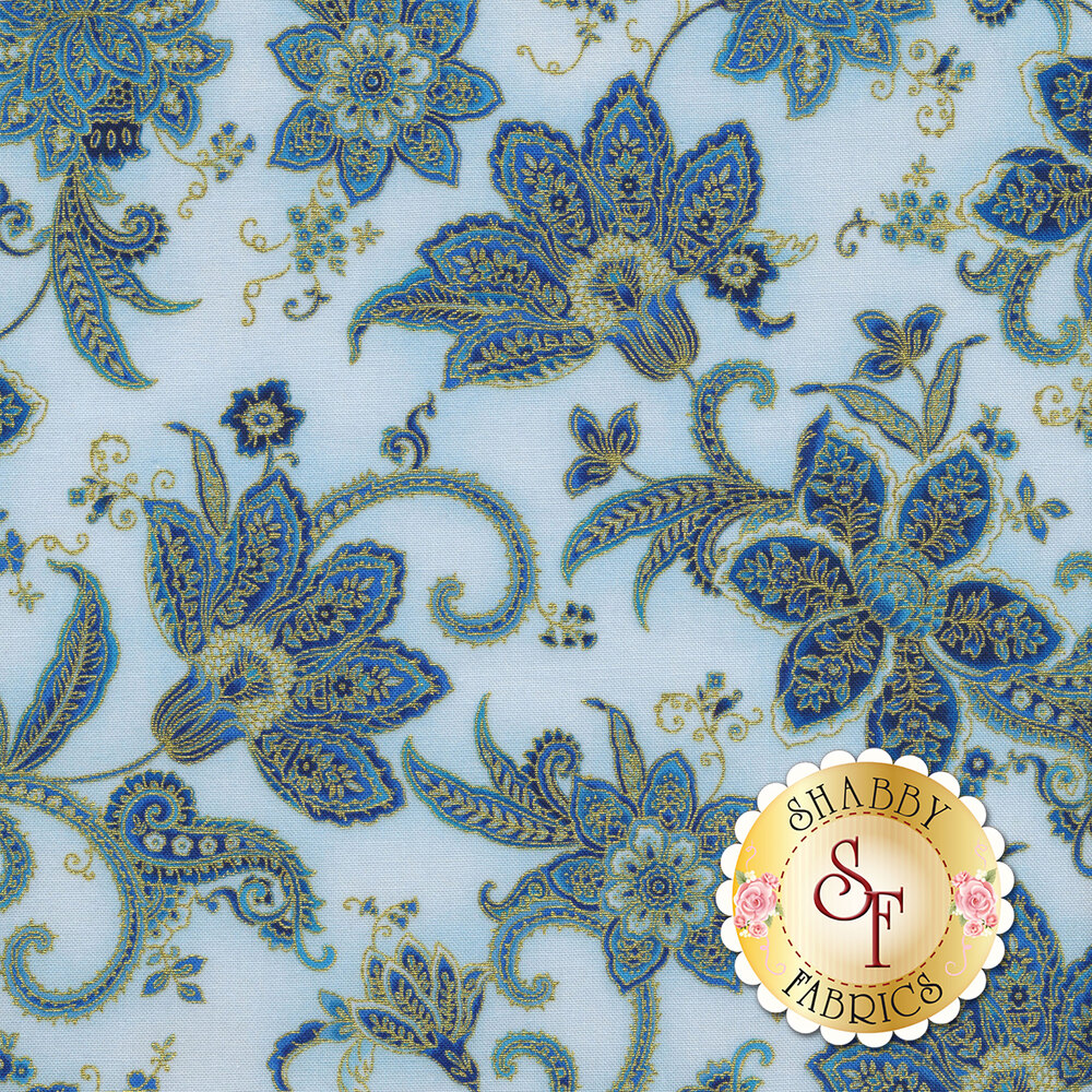 Elegant flowers with gold metallic accents on a light blue background | Shabby Fabrics