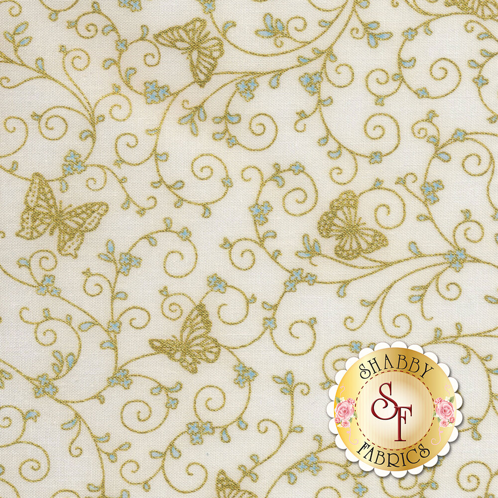 Gold metallic butterflies and swirls on a cream background | Shabby Fabrics