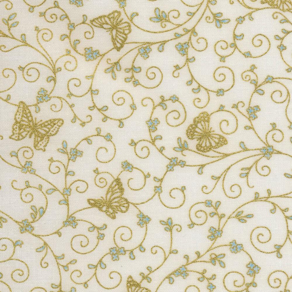 Gold metallic butterflies and swirls on a cream background | Shabby Fabrics