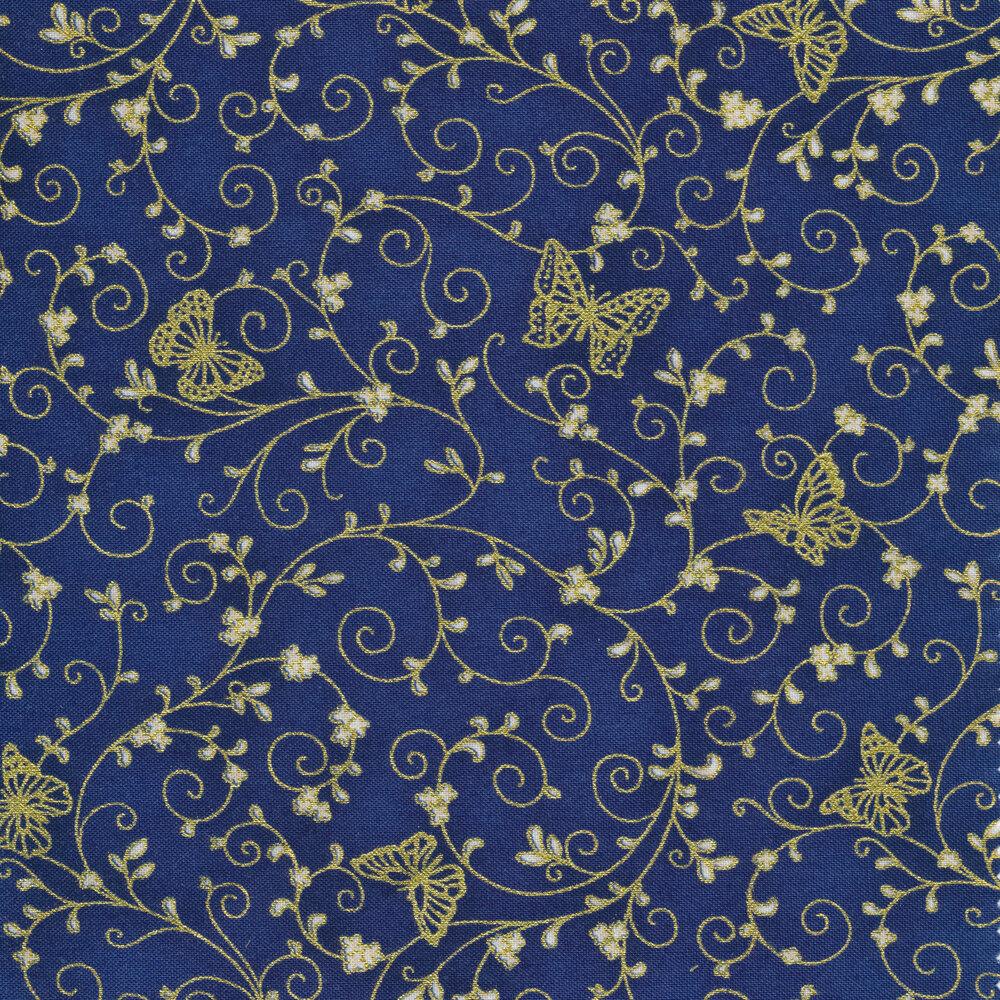 Gold metallic butterflies and swirls on a dark blue background | Shabby Fabrics
