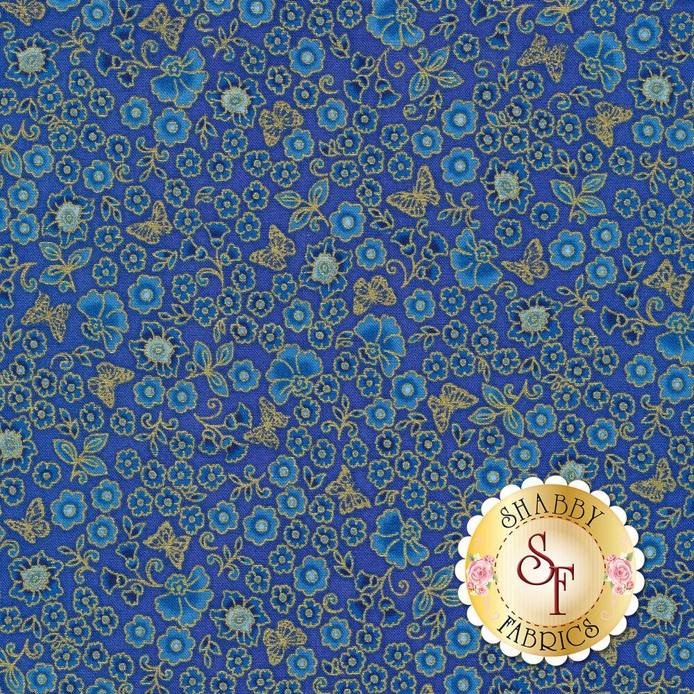 Gold metallic butterflies and flowers on a dark blue background   Shabby Fabrics