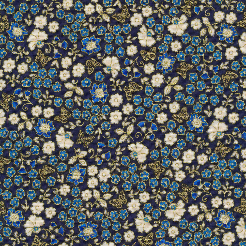 Gold metallic butterflies and flowers on a dark blue background | Shabby Fabrics