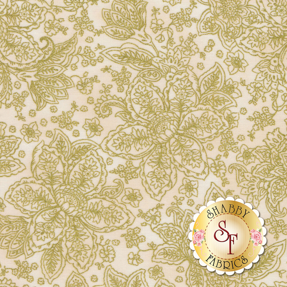 Gold metallic floral outlines on a cream background | Shabby Fabrics
