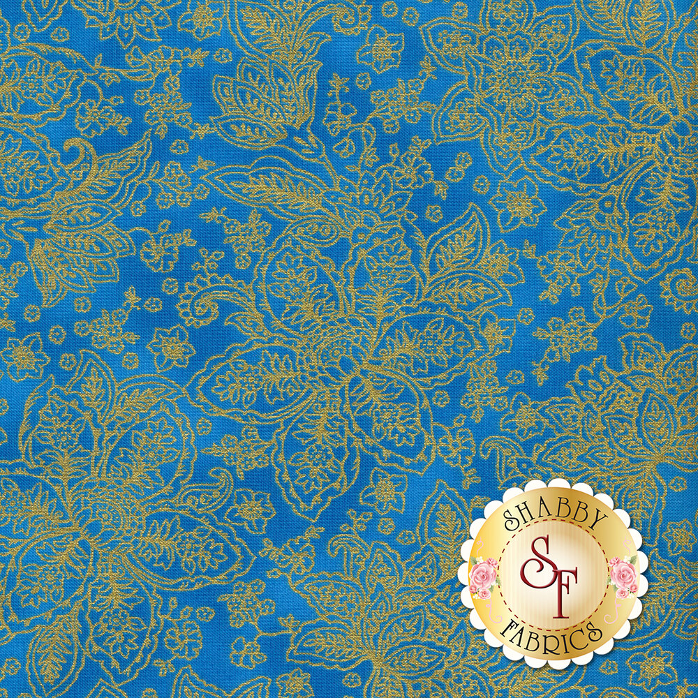 Gold metallic floral outlines on a blue background | Shabby Fabrics