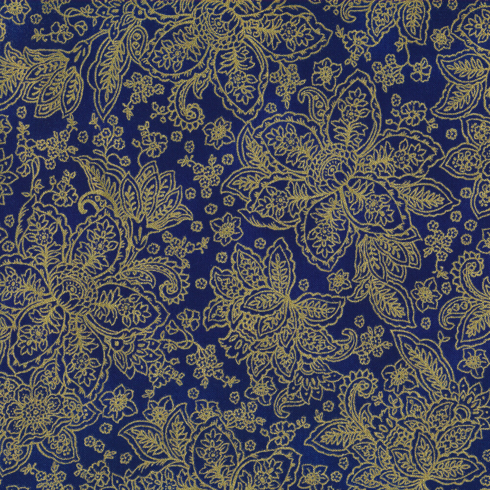 Gold metallic floral outlines on a dark navy background | Shabby Fabrics