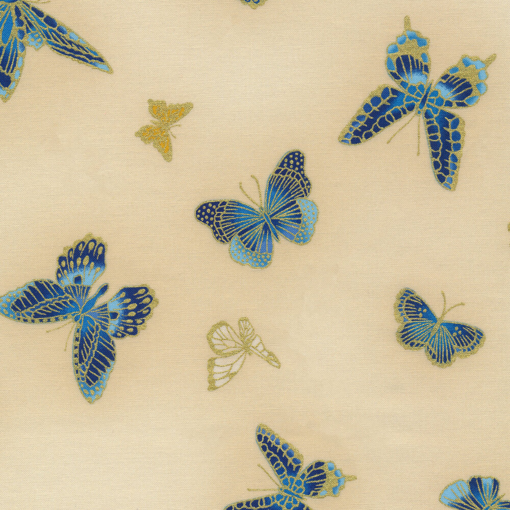 Gold metallic butterflies on a cream background | Shabby Fabrics