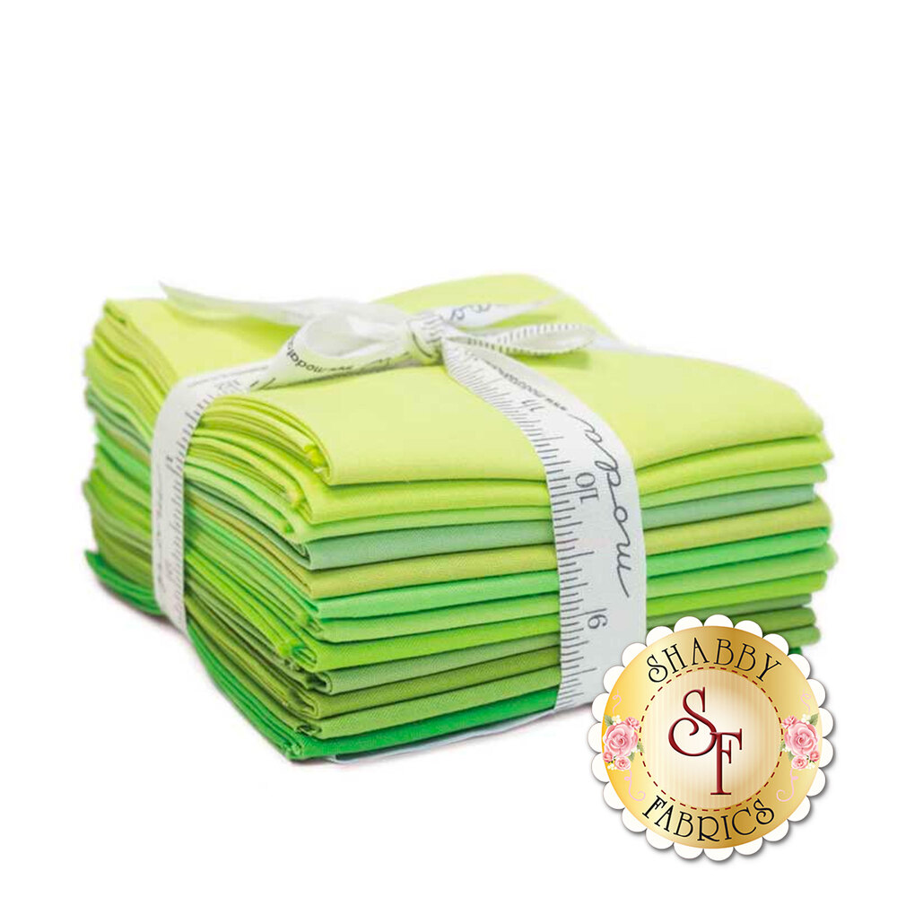 Bella Solids  12 FQ Set - Green by Moda Fabrics | Shabby Fabrics