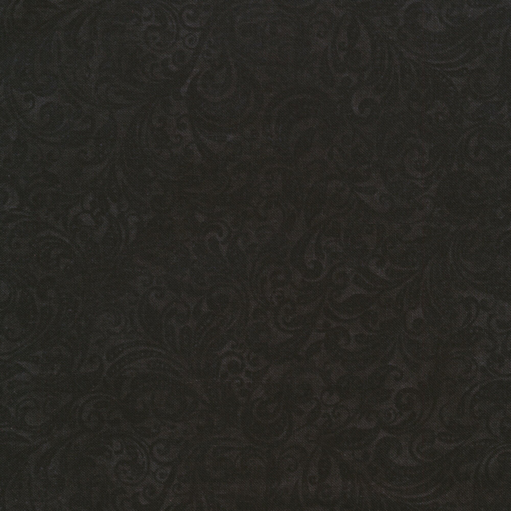 Black tonal scroll design | Shabby Fabrics