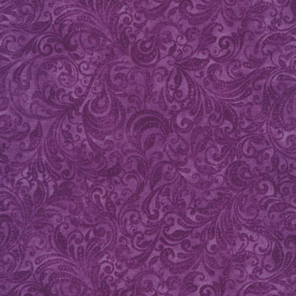 Purple tonal scroll design | Shabby Fabrics