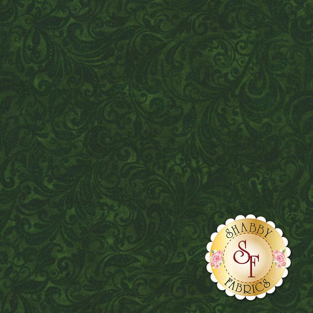 Green tonal scroll design | Shabby Fabrics